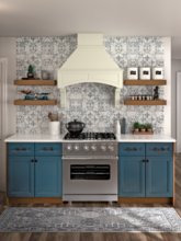 painted kitchen with hood